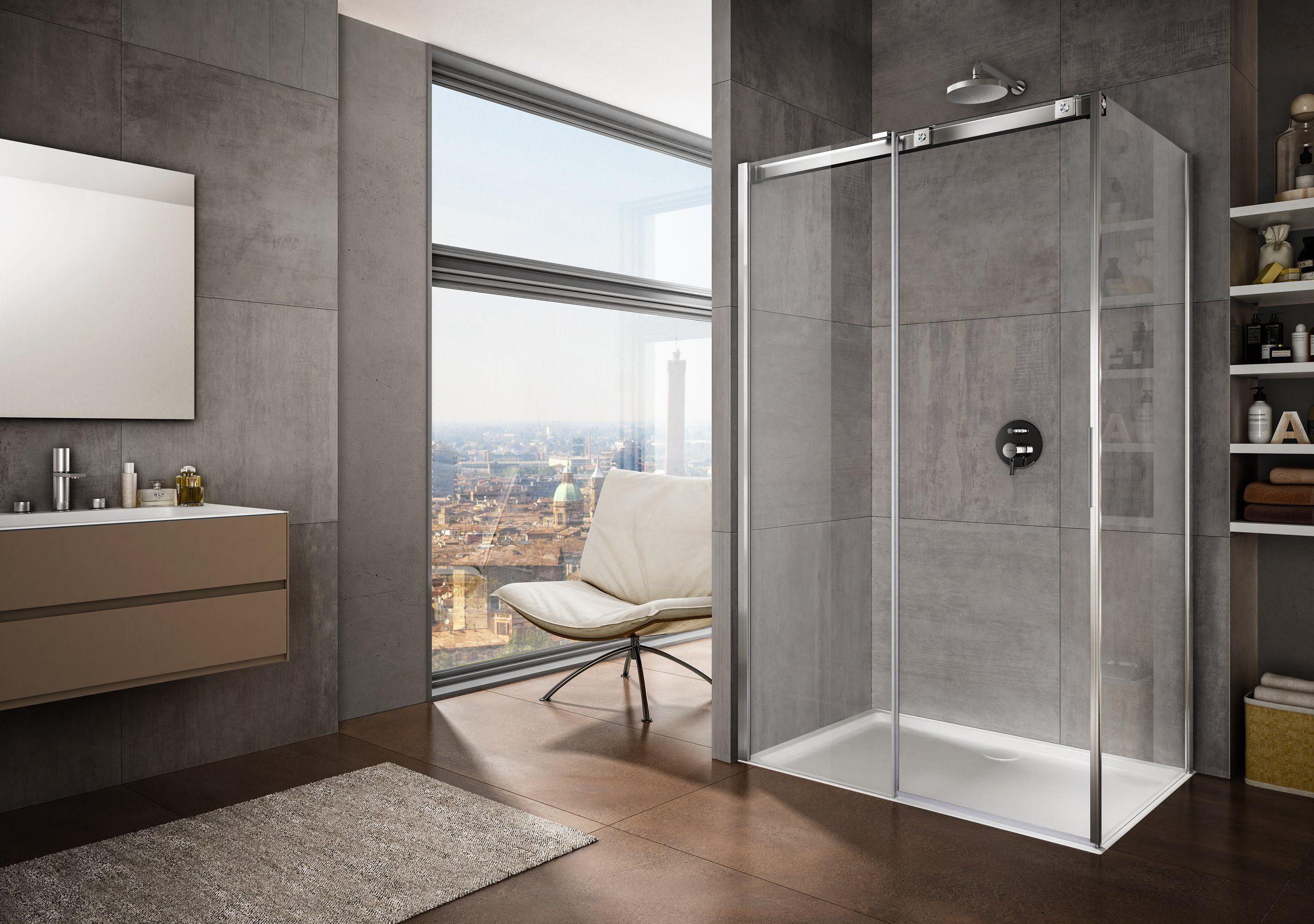 La linea di box doccia con porte scorrevoli è