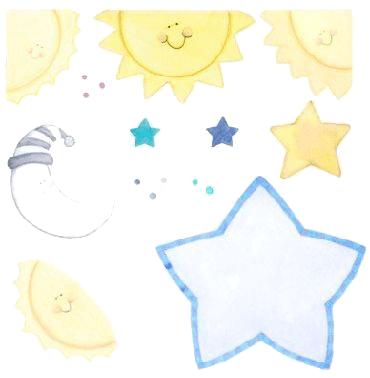 Sol Estrellas Y Lunas Clip Art Glow In The Dark All Art