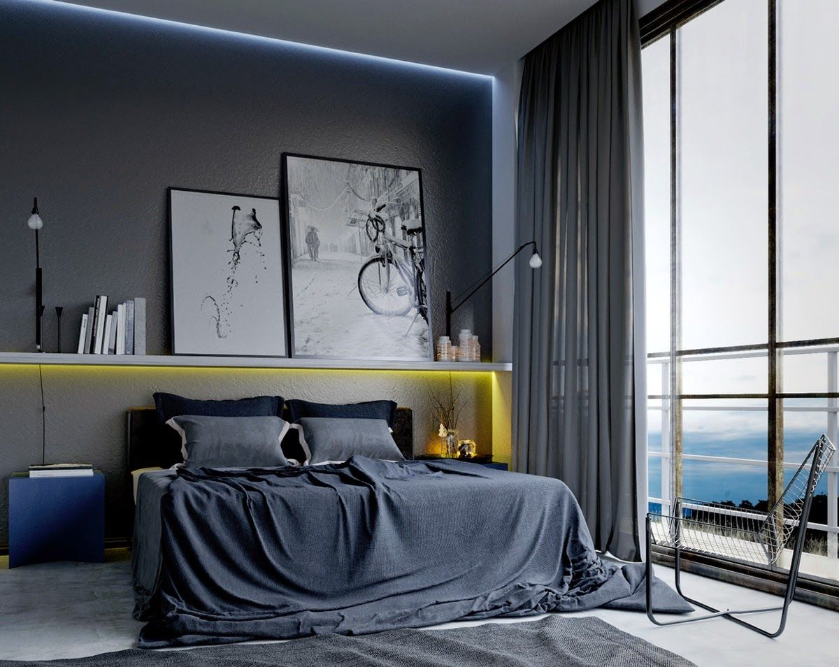 masculine bedroom with dark grey and blue hues with framed art decor - Masculine Bedroom Design