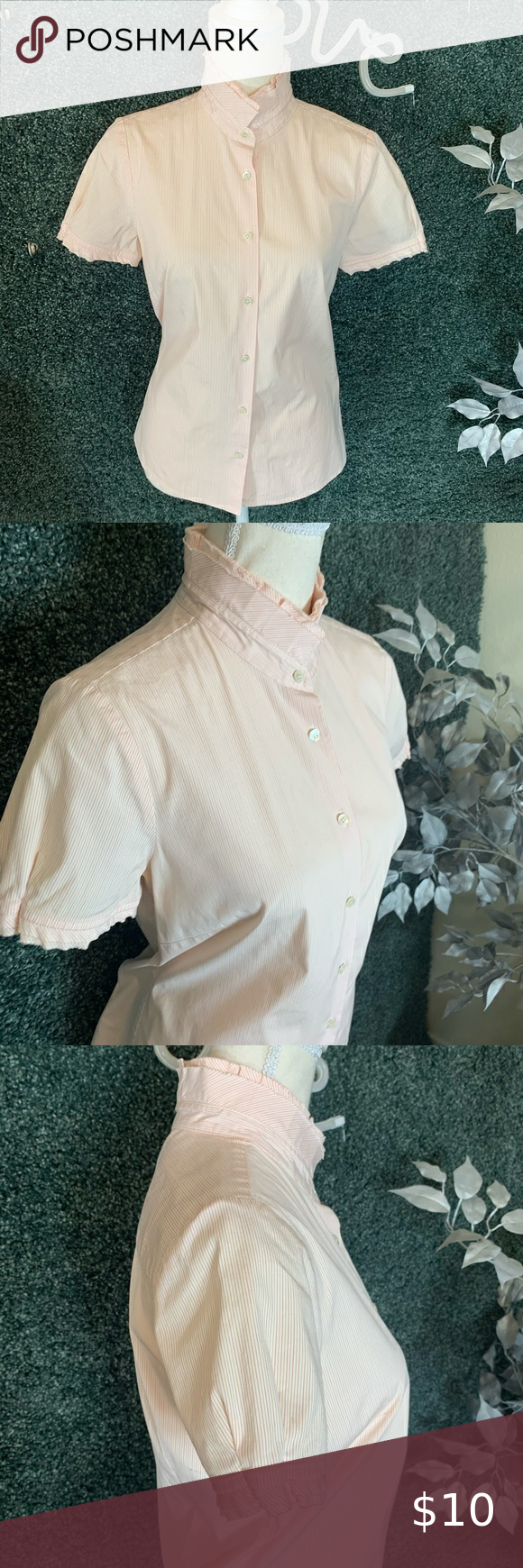 J. Crew Pink Pinstripe Button Down Top Small, 97% cotton, 3% spandex, 7 buttons, short sleeves, 24.5
