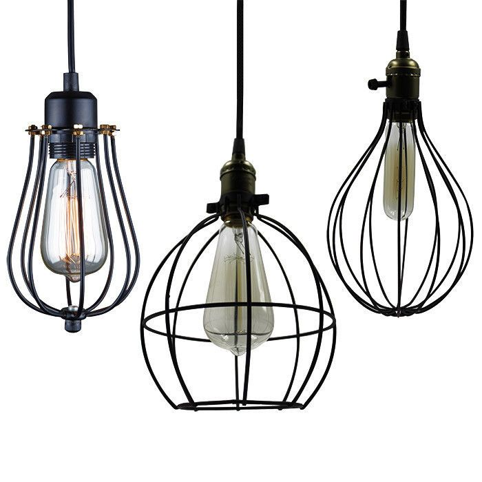 Vintage Industrial Metal Wire Cage Pendant Light Guard Rustic Wall ...