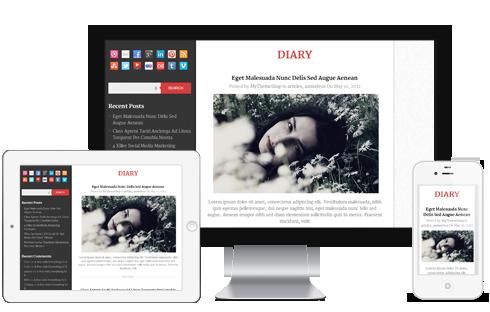 Diary Free Responsive blog WordPress Theme - Diary is a free, pixel ...