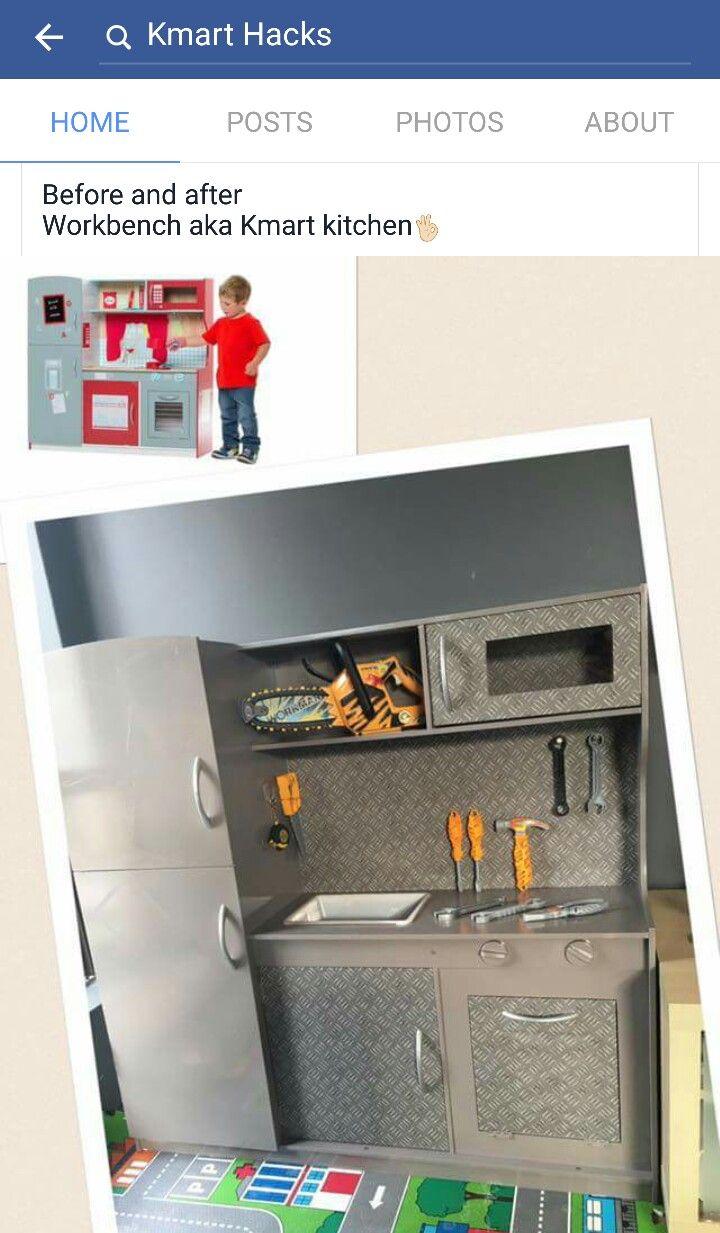 Kmart Hack Kitchen Turned Workshop Diy Kids Kitchen Kids Kitchen Kids Play Kitchen