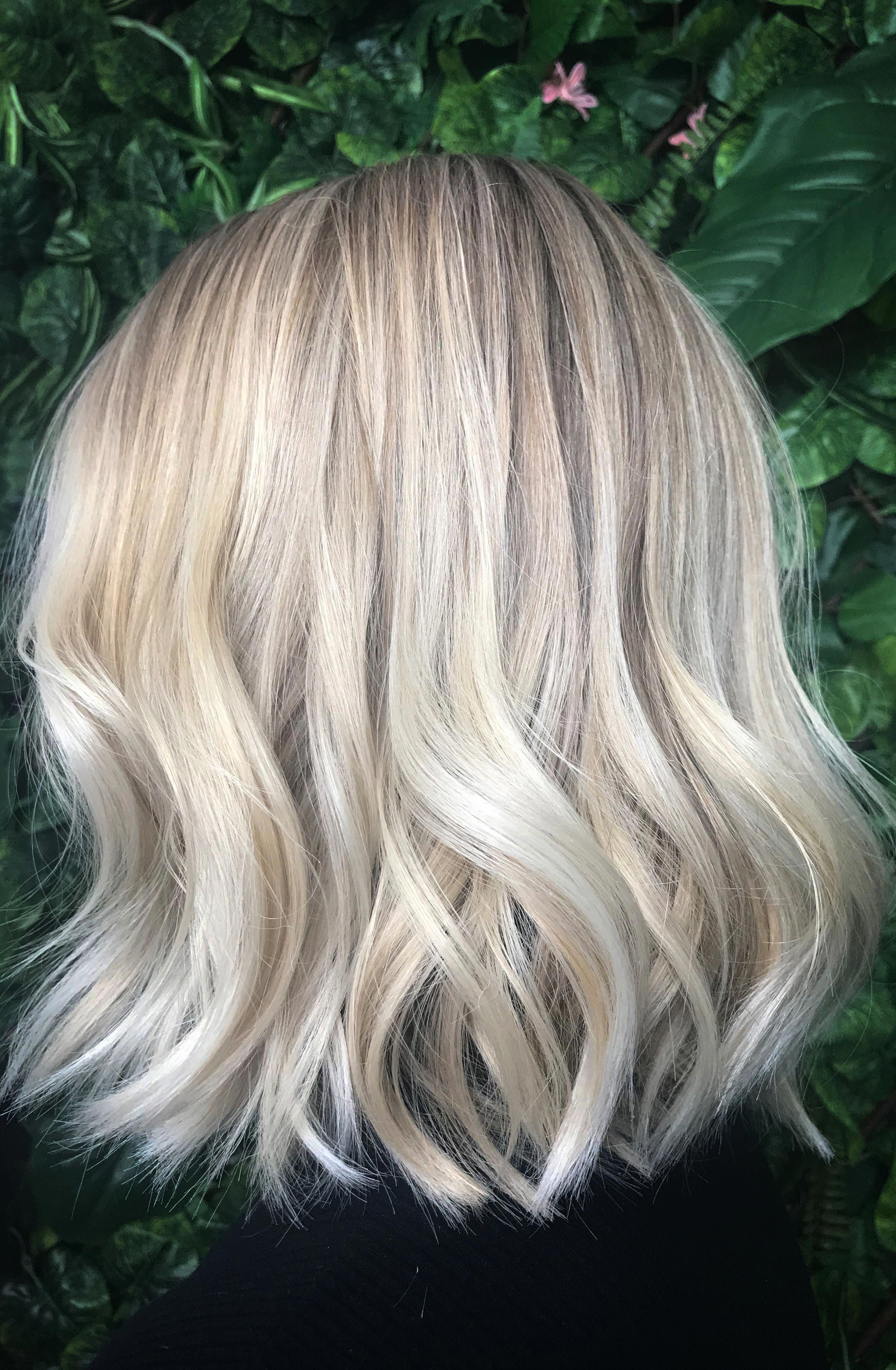 Ash blonde balayage , natural blondes babylights , and highlights on a blunt bob with waves . Sexy bob with waves. Hair by RE:NU HAIR STUDIO LEICESTER #bluntbob #naturalashblonde