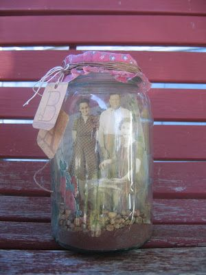 Using old jars found at the Panhandle Homestead, vintage photos were cut out and arranged inside.