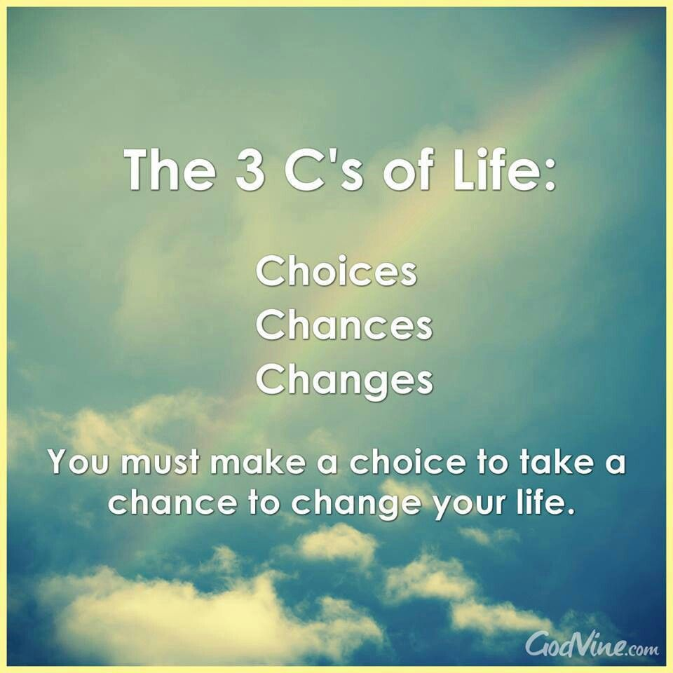 The three C's of life. Inspirational quotes