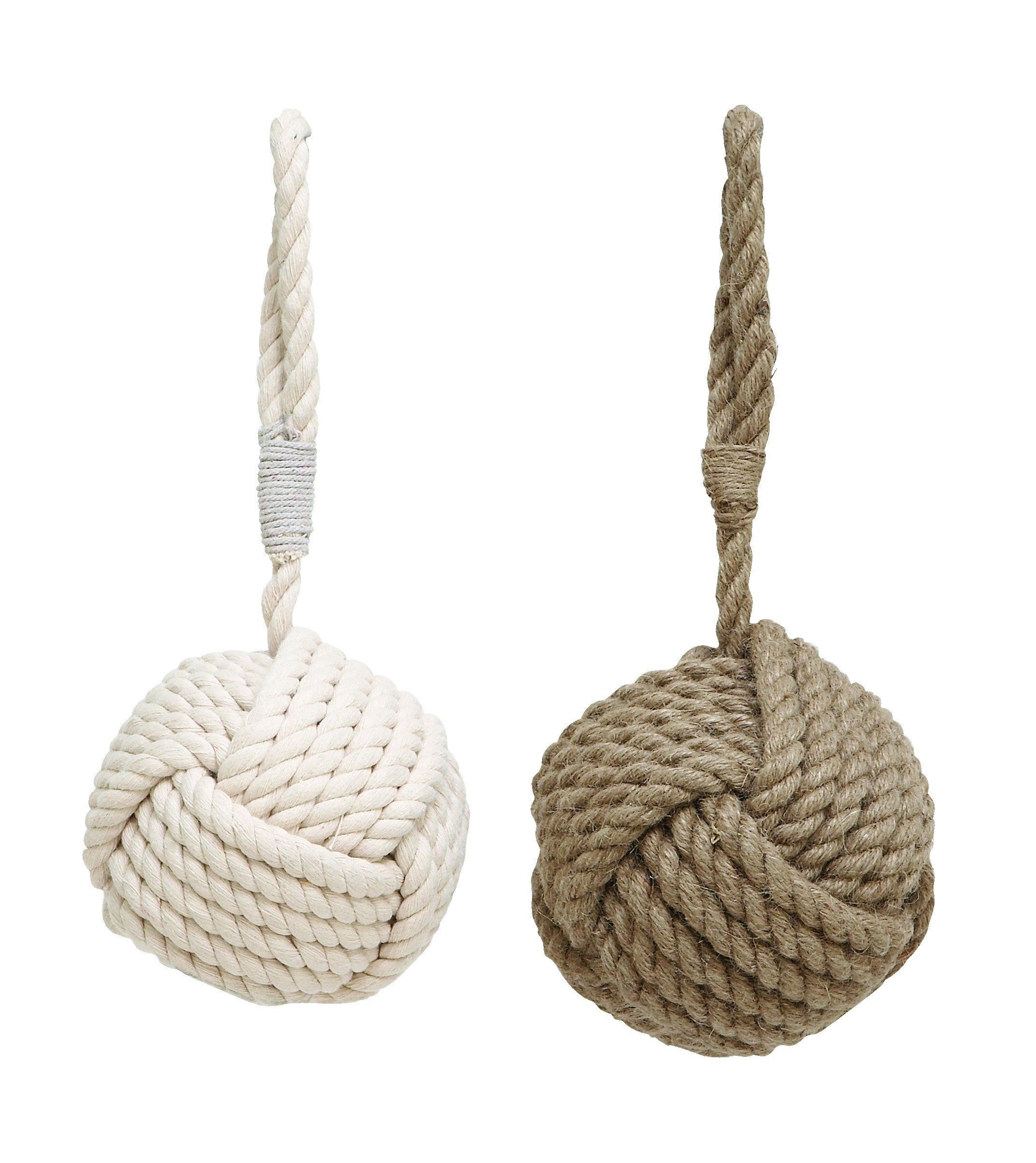 Faux Cotton and Jute Rope Door Stopper In Ball Shape, Set of