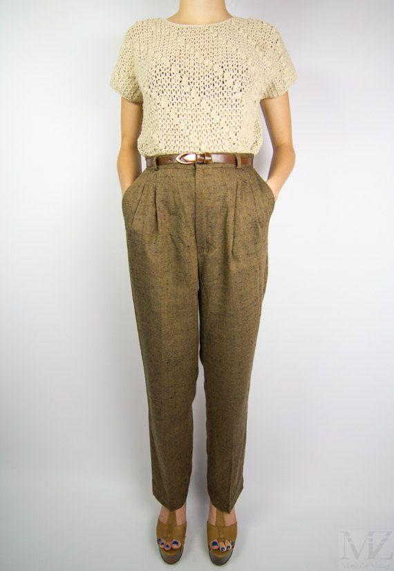 Vintage 1980s does 1940s tweed cropped pants size small brown tweed pants