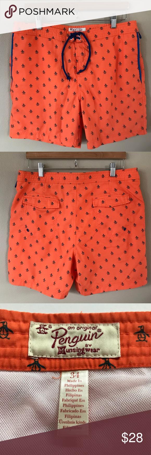 Original Penguin Volley Swim Trunks Shorts Sz 34 Beachwear Collection Original Penguin Printed Swim