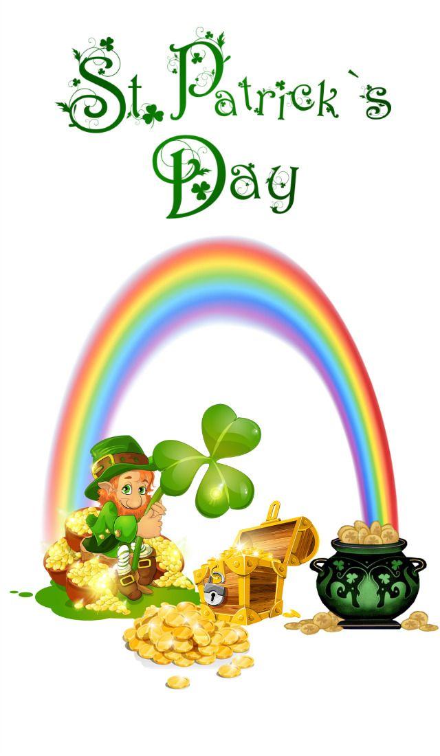 Leprechaun Sitting By The Rainbow Guarding Pot Of Gold Treasure On St Patricks