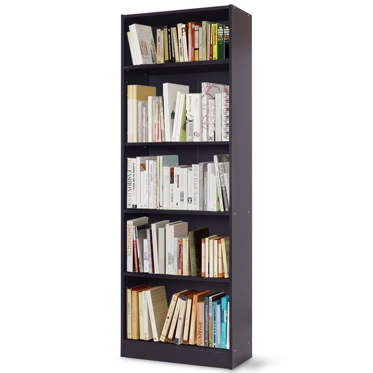 Modern 5 Tier Storage Media Shelf Cabinet Bookcase Bookcase