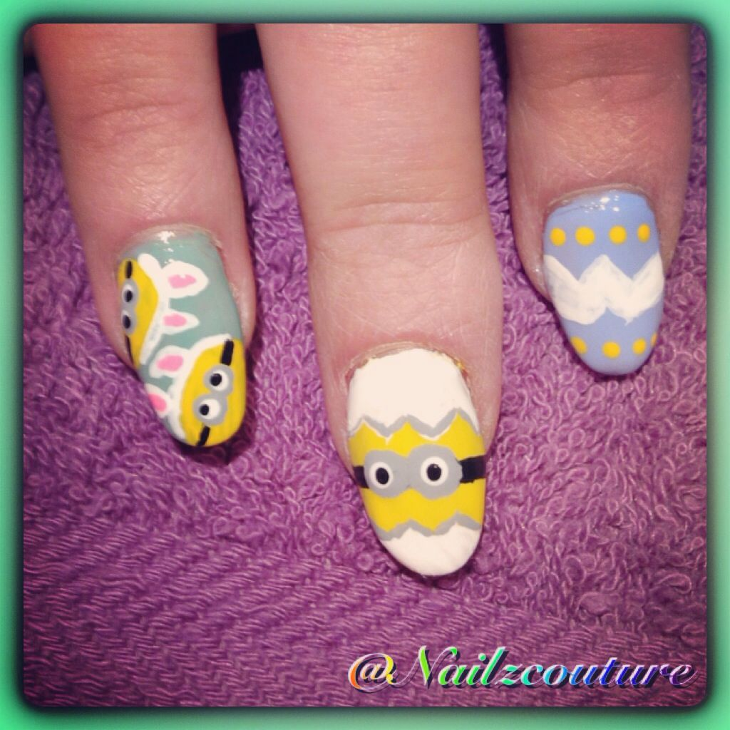 Easter nails - Minion bunnies | Nails | Pinterest