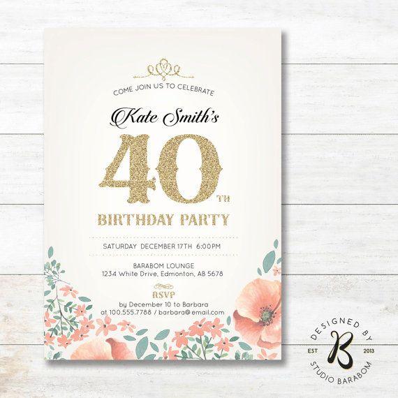 40th Birthday Invitation Adult Birthday Invitations for Women