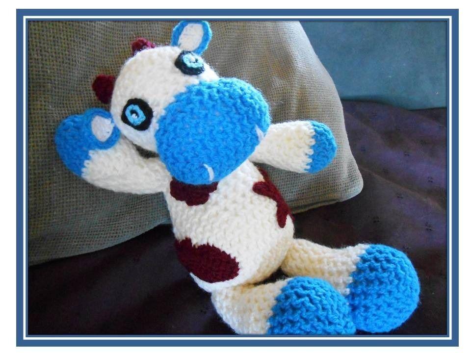doudou vache rigolote crocheté main et sécurisé pour bébé : Jeux, peluches, doudous par l-atelier-de-zoune