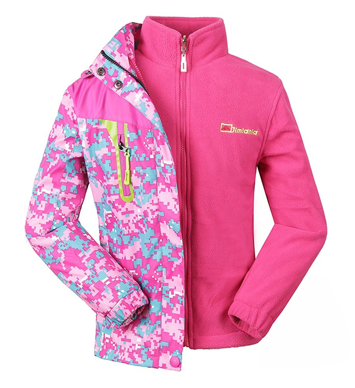 a9a3a93d6fdf Amazon.com  Roseate Girls 3-in-1 Jacket with Fleece Liner Outdoor ...