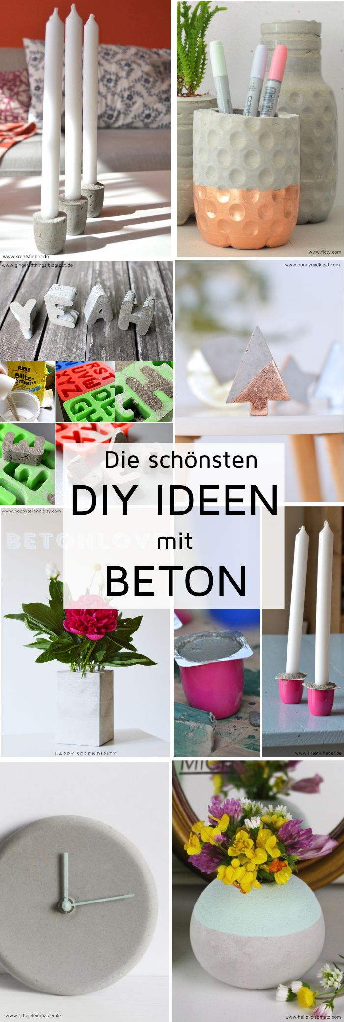 die sch nsten diy ideen mit beton madmoisell diy projekte basteln selbermachen pinterest. Black Bedroom Furniture Sets. Home Design Ideas