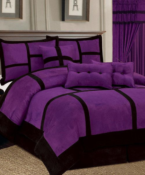 14pc purple black comforter curtain set micro suede full - Complete bedroom sets with curtains ...