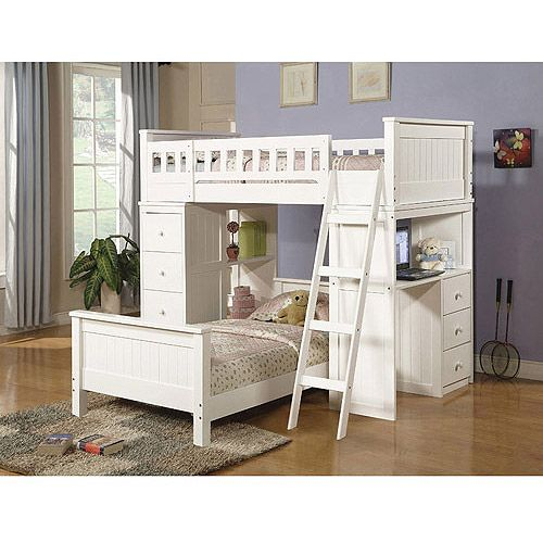 Willoughby Loft Bed and Twin Bed with Desk & Storage, White: Kids ...
