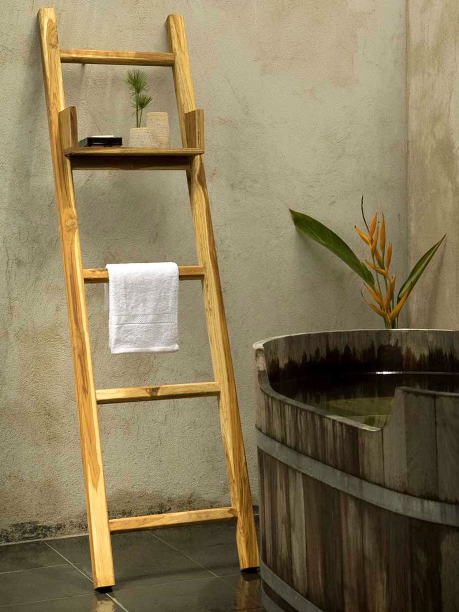 Handmade Teak Wood Free Standing Ladder Towel Ladder Ladder Decor Ladder Towel Racks