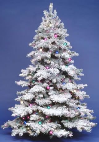 12 Foot Dura Lit Artificial Christmas Tree Alaskan Flock Clear Full Heigh Flocked Artificial Christmas Trees Flocked Christmas Trees Pre Lit Christmas Tree