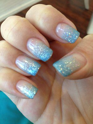 Blue Glitter Tip Fade Nails Blue Wedding Nails Blue