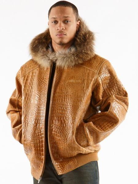 b6bfae2e9 Pelle Pelle Basic Tim Tan Alligator Fur Hood Leather Jacket | Exotic ...