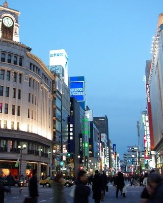 Ginza is a major shopping town in Tokyo. Along the main street, there are many department stores and many well-known luxury brand stores. http://www.travel-around-japan.com/k31-11-ginza.html