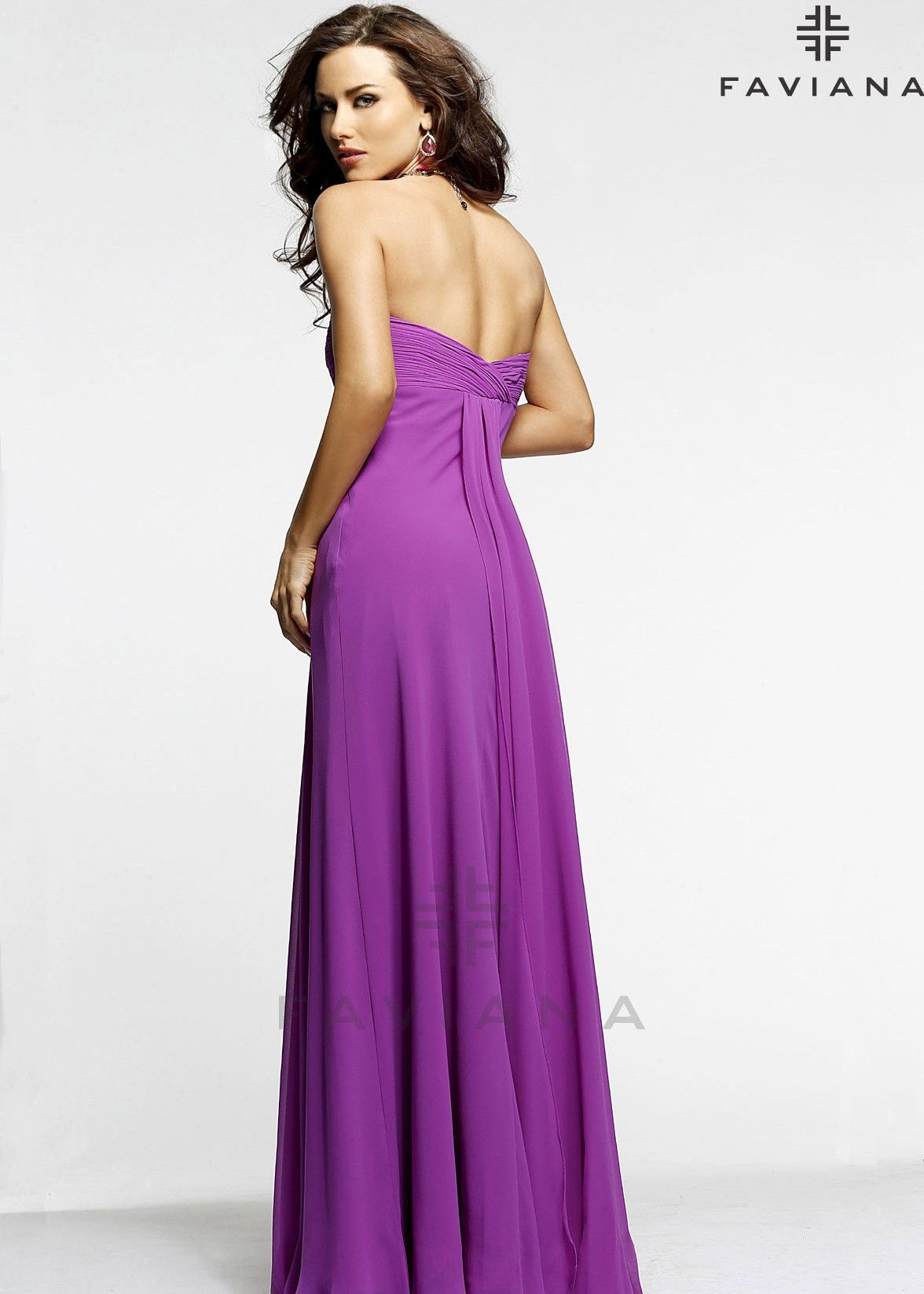 Faviana 7339 Ruched Chiffon Gown Dresses, Faviana prom