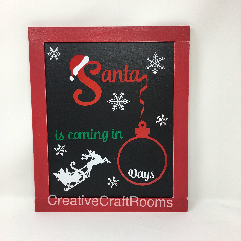 Christmas Countdown Chalkboard Days Until Christmas Sign Christmas