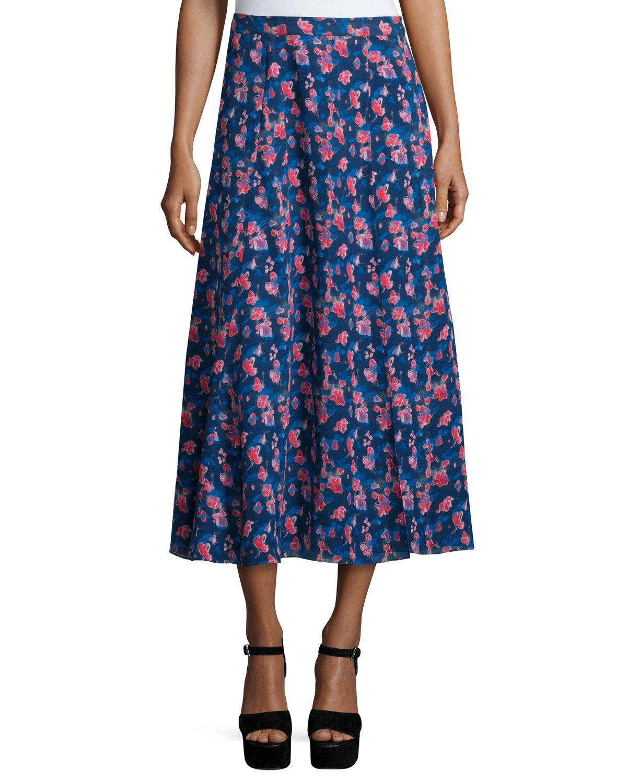 Wixson Floral Silk Midi Skirt, Navy, Navy Multi - Tanya Taylor