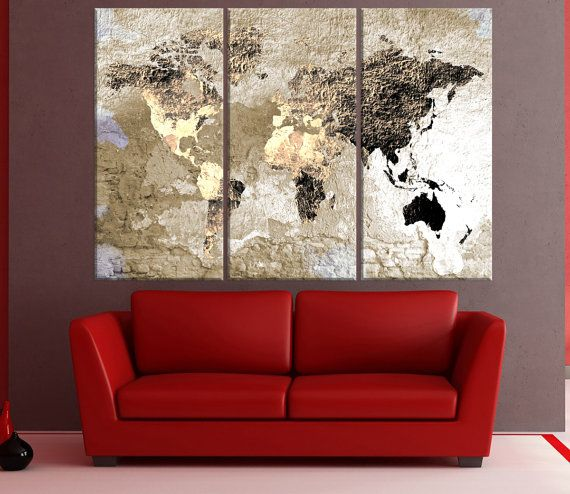 large abstract world map canvas wall art vintage world map