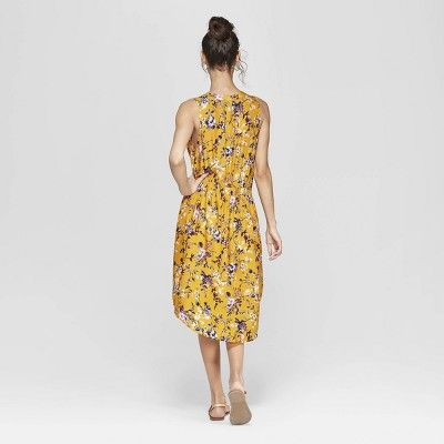 d3d5a26c8ea Women s Floral Print Sleeveless V-Neck Cinched Waist Midi Dress -  Xhilaration  Mustard Yellow XS  Affiliate  Sleeveless
