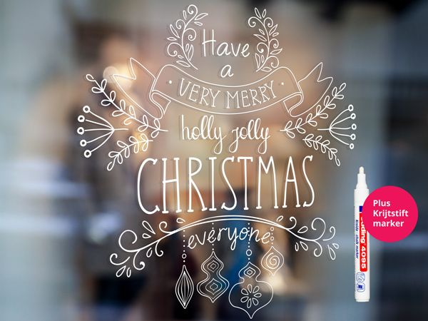 Krijtstift raamtekening Very Merry Christmas MET KRIJTSTIFTMARKER