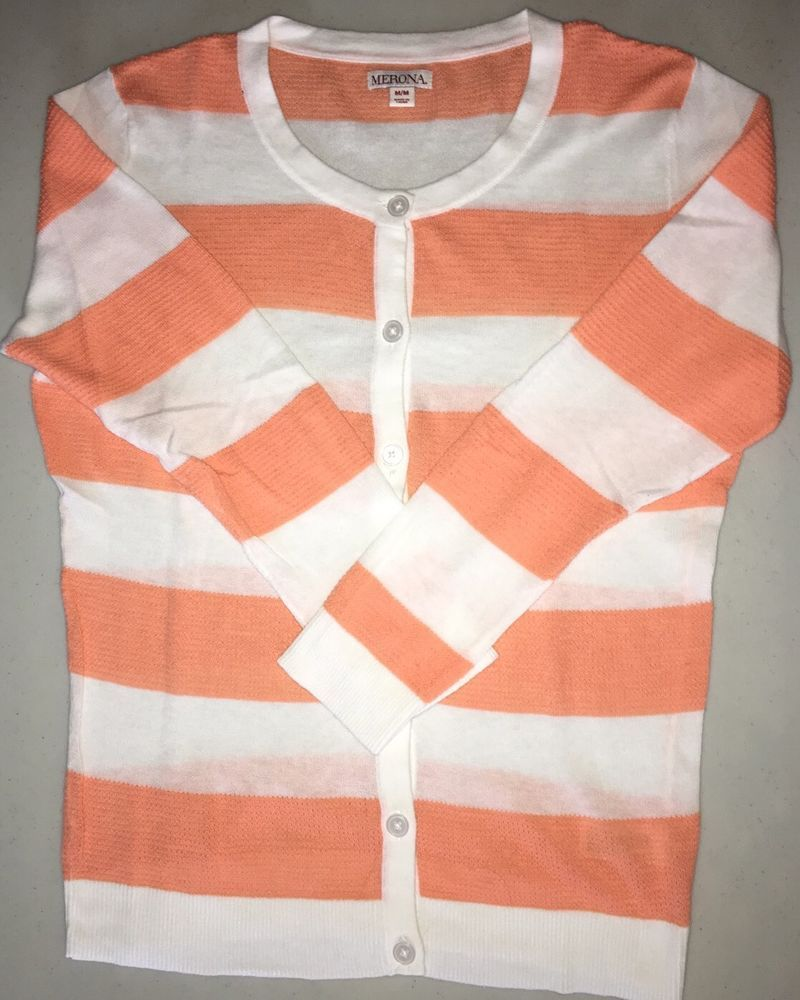 Merona Ladies Button Down Cardigan Sweater Orange & White Stripes ...