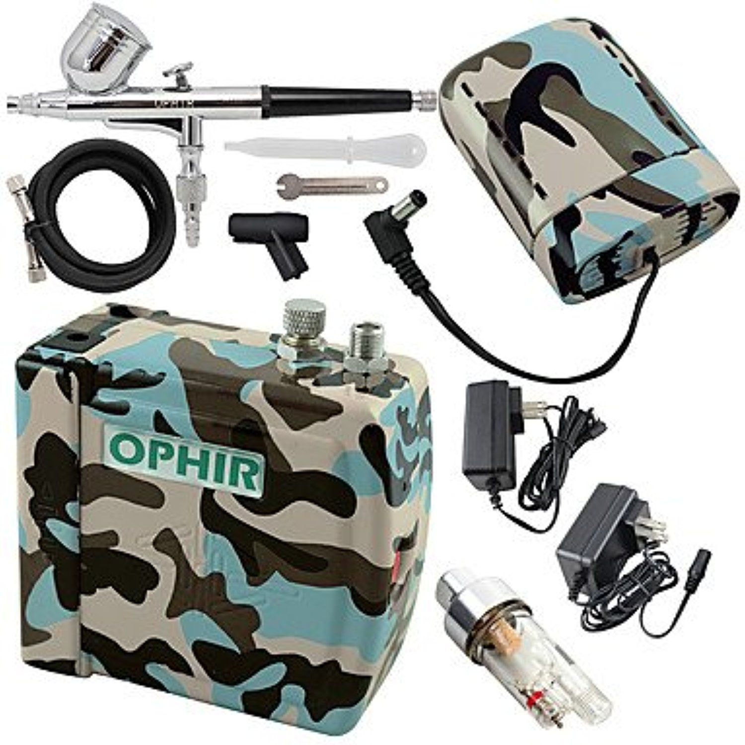 Blue Camouflage 0.3mm Adjustable Airbrush Kit with Mini