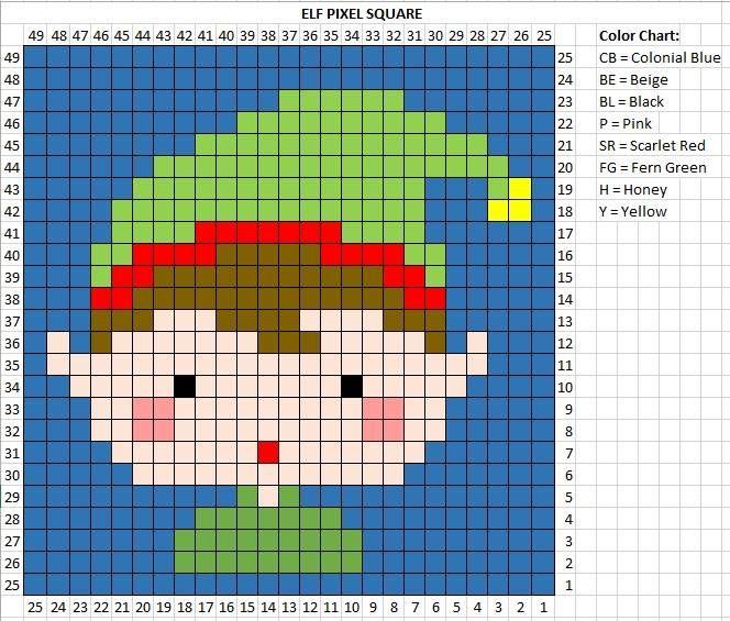 Crochet Elf Pixel Square #number5