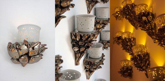 22 photophores en porcelaine ajourée Moulage 1250 C° 22 consoles d