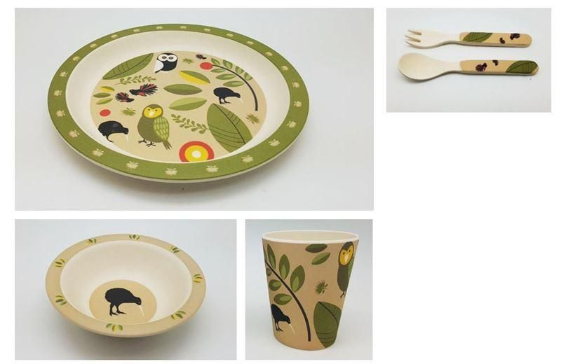 Owls Kiwis 5 Piece Kids Set Kids Set Plant Fibres Tableware