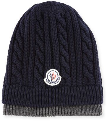 0a8e70d0b48a24 Moncler Bicolor Logo Cable-Knit Beanie Hat | Mens Hats
