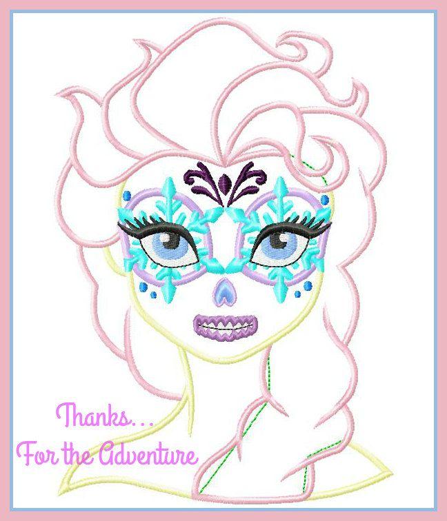 Queen Elsa from Frozen Dios Dos Meurtos Day of the Deal Sugar Skull