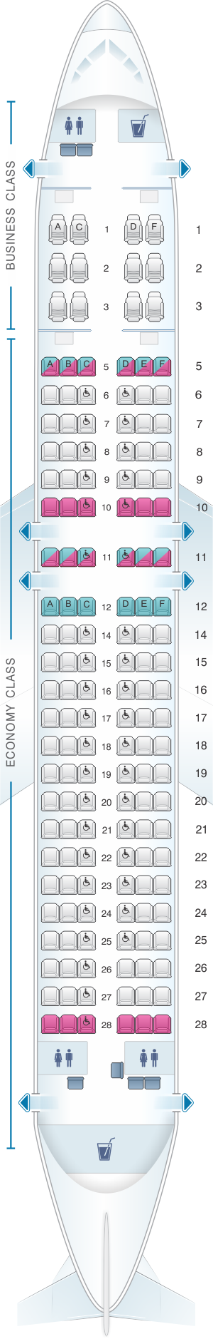Seat Map Srilankan Airlines Airbus A320 Config 1