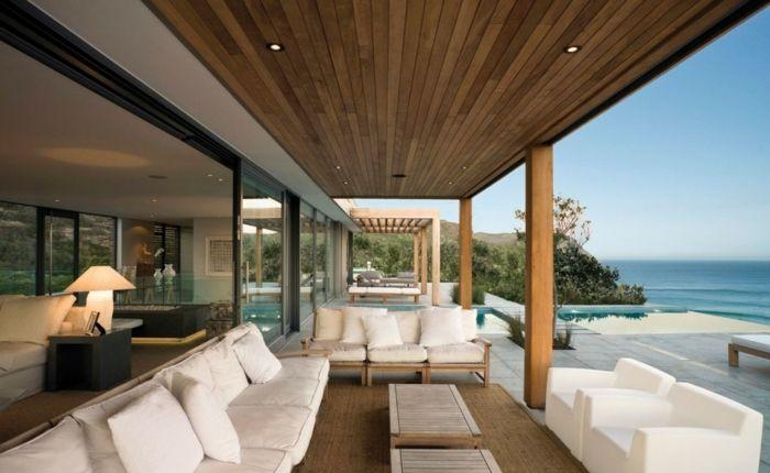muebles en blanco para terrazas modernas, terraza con vista