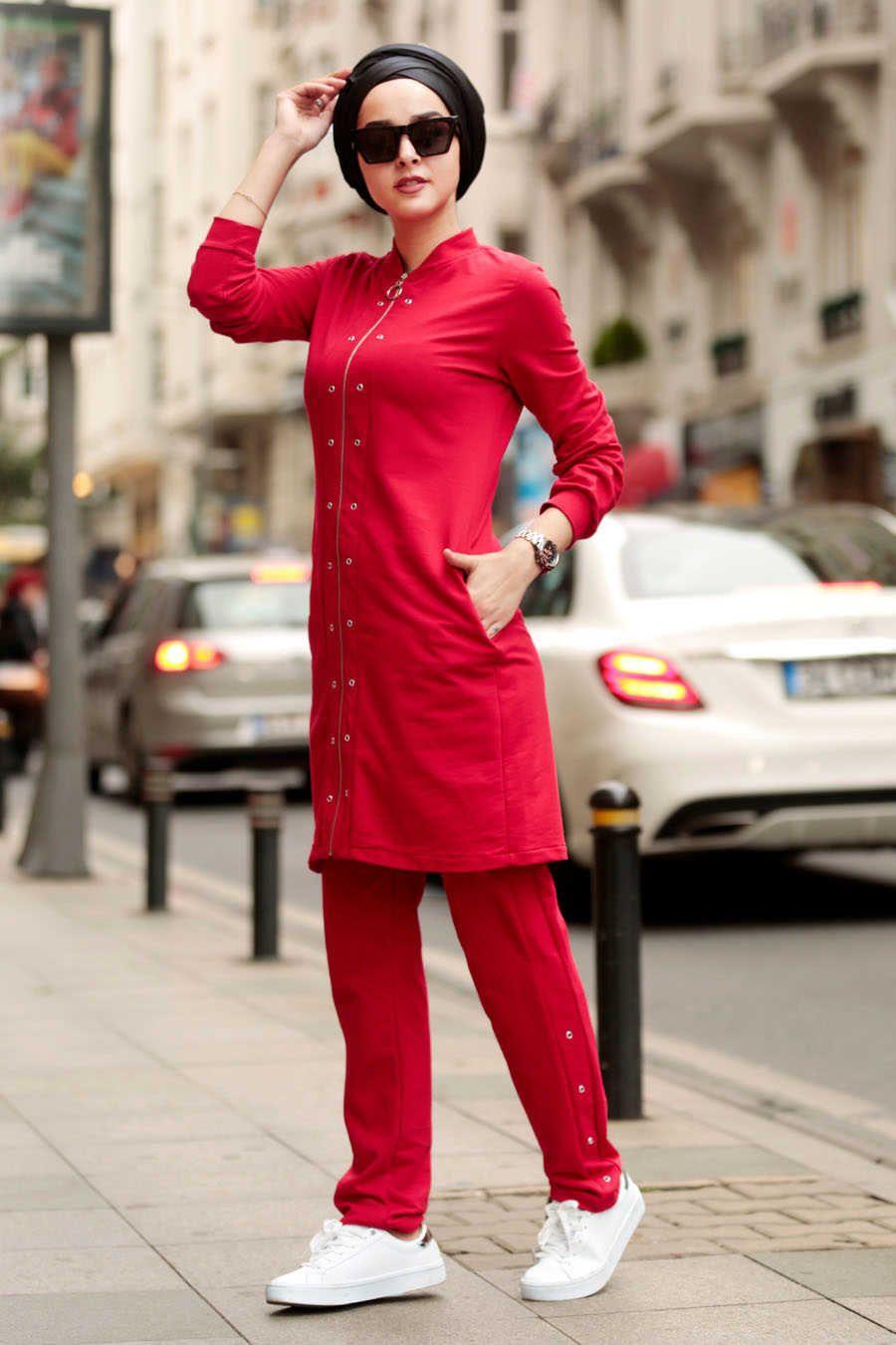 Neva Style Red Hijab Suit 2385k Neva Style Com Cute Outfits Fashion Red Fashion