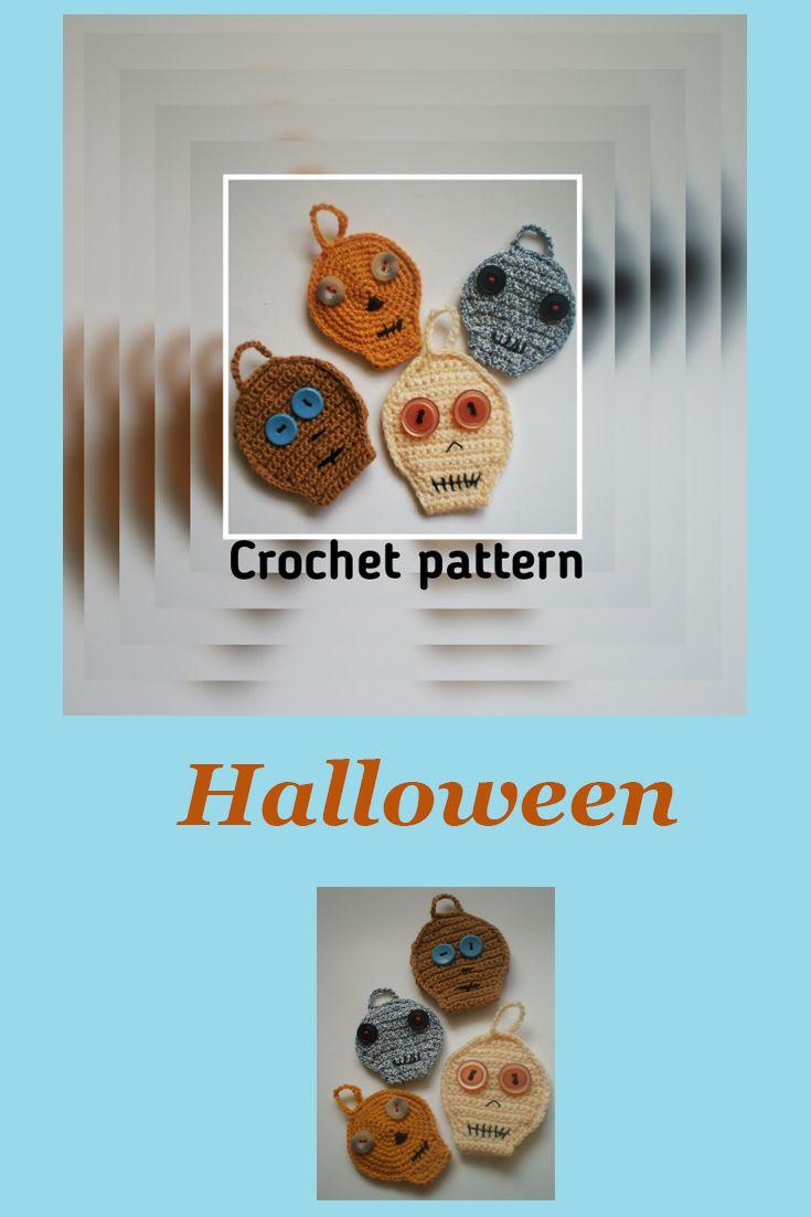 Diy Craft Skull Crochet Pattern Halloween Pdf Skull Keychain Rustic