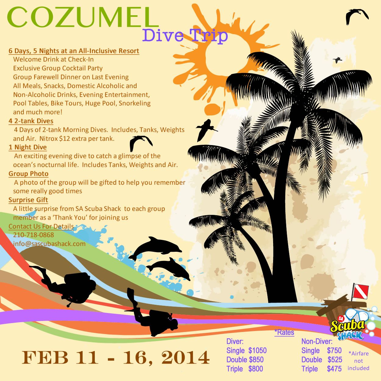 Let's beat the spring breakers and join us for a dive trip to Cozumel in February.  Divers and Non-Divers are welcome!