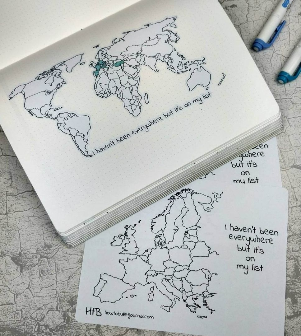 New Zealand is there! Yesterday I forgot to paste it in my notebook. We also added Europe's map sticker and printable in the shop! Go to etsy.com/shop/howtobulletjournal and don't forget that 10% off by using OPENING17