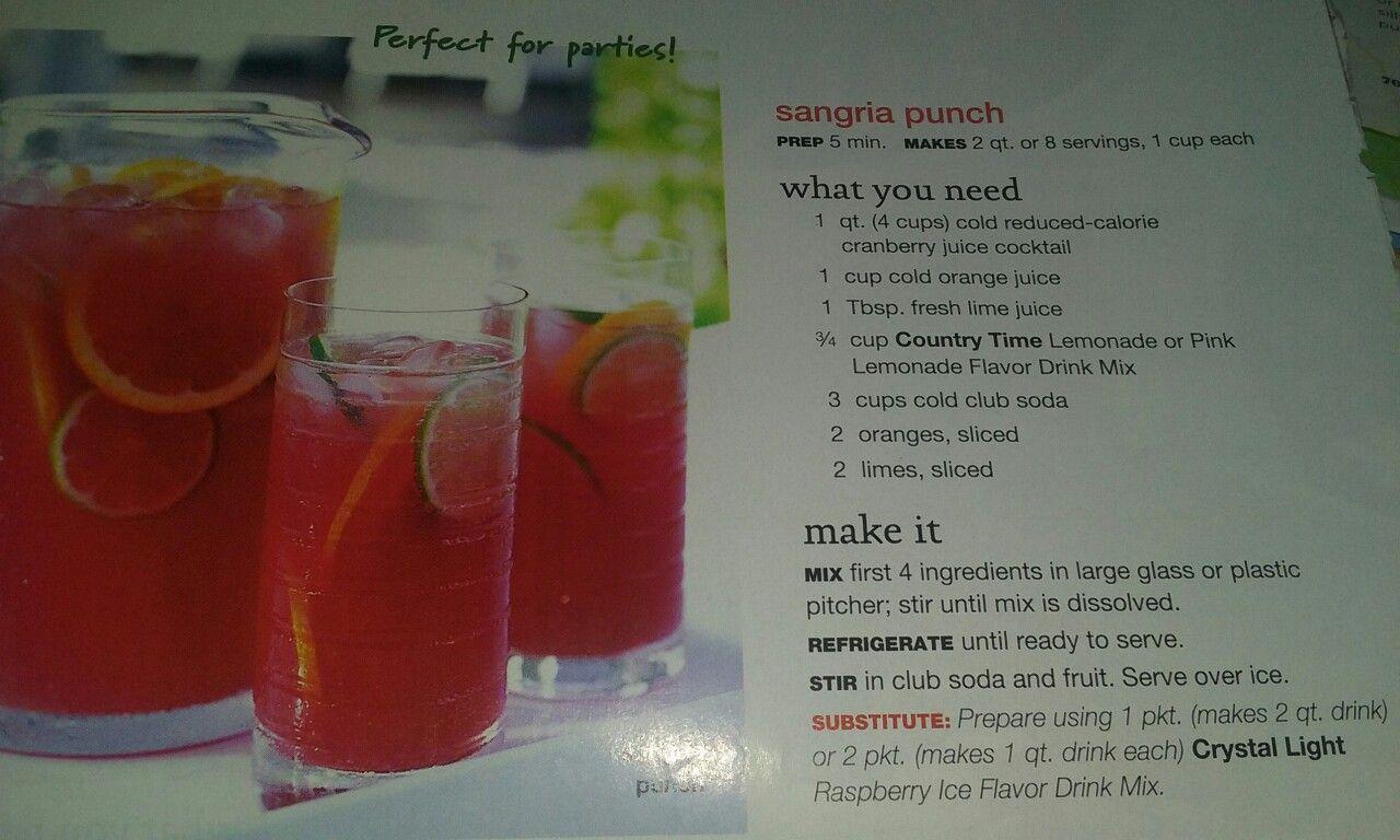 Sangria Punch Cold Reduced Calorie Cranberry Juice Cocktail Cold
