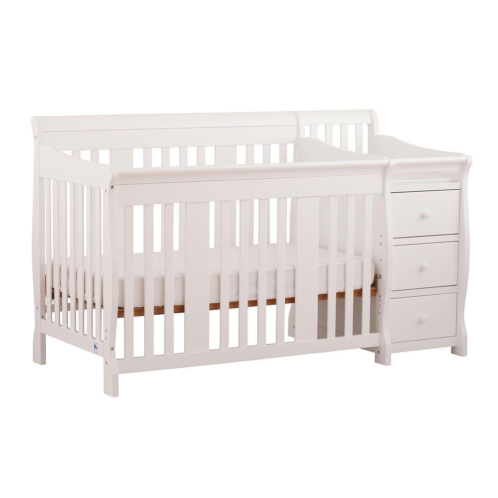 Stork Craft Portofino 4 In 1 Fixed Side Convertible Crib Changer White Storkcraft Babies R Us Crib With Changing Table Convertible Crib Cribs [ 1000 x 1000 Pixel ]