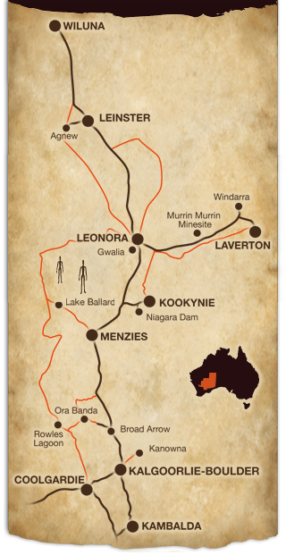 Map of the Goldfields tourism network Western Australia
