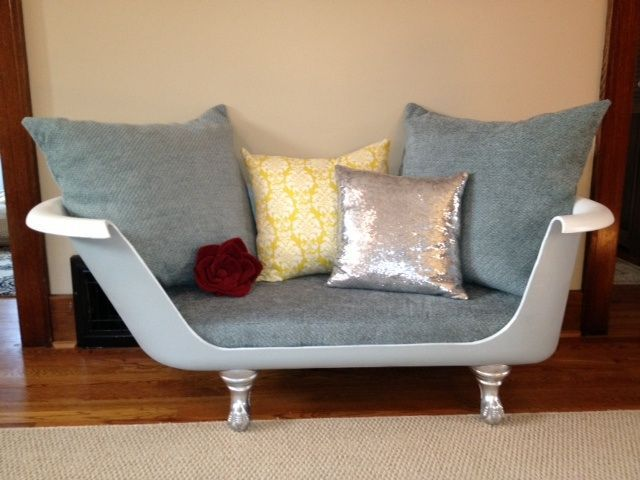 Upcycled Claw Foot Tub Sofa With Images Clawfoot Tub Shabby
